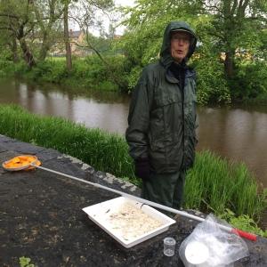 Alf Saldin från Naturskyddsföreningen var dock inte rädd för lite regn och hjälpte glatt till att håva insekter och artbestämma fynden.