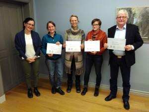 På bilden från vänster är Kursledare Amanda Hessle och de nyutbildade Biosfärambassadörerna Judith Rieschl, Anna van der Tol, Metha Hallgren och Ingemar Ulinder.